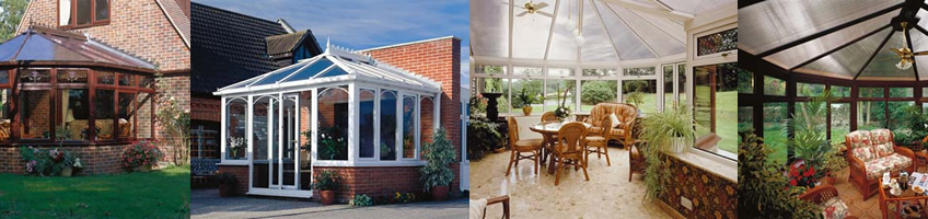 Bespoke conservatories in white and wood effect UPVC